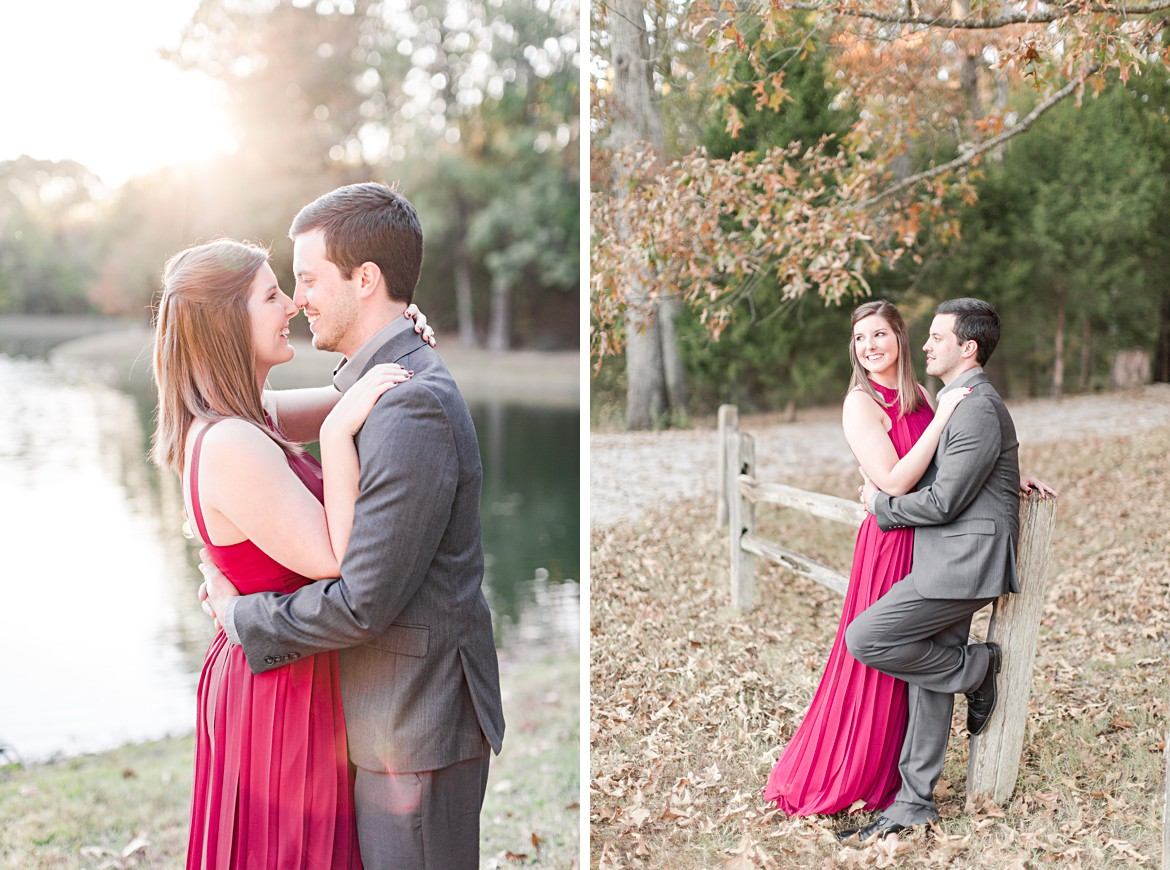 Memphis Fall Engagement with Red Dress