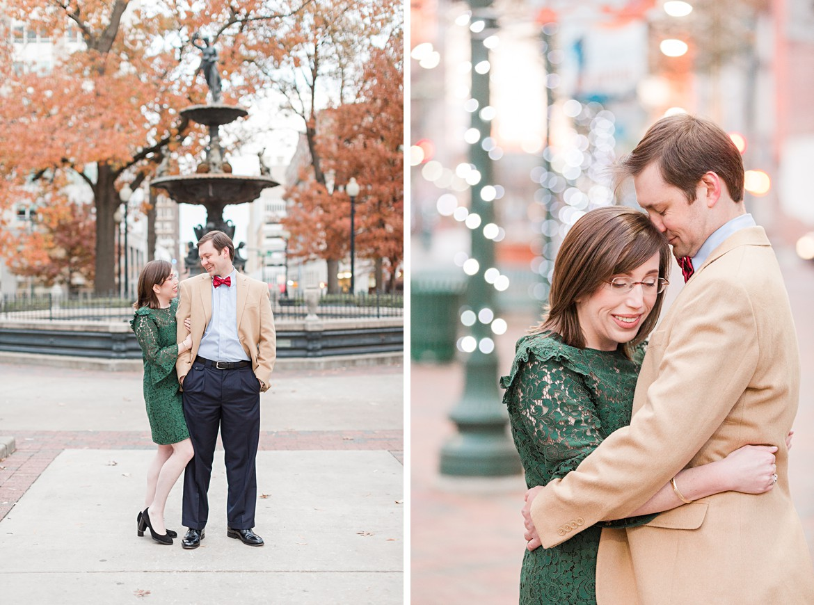 Chilly Downtown Memphis Winter Engagement