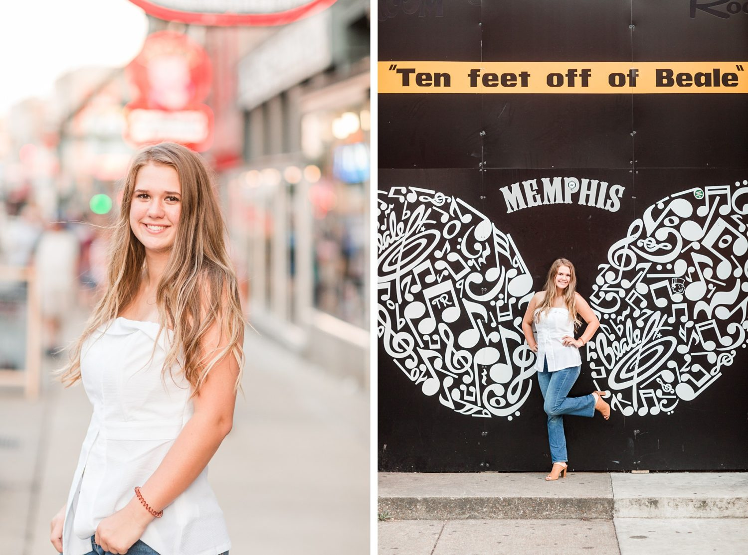 Fun, Colorful Memphis Senior Session on Beale Street